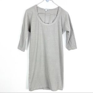 Standard James Perse Gray Ribbed Scoop Neck Dress